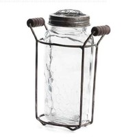 Retro Look Mason Jar Vase with Rusted Frog Lid and Vintage Holder