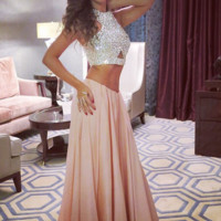 Custom Made 2 Pieces Long Prom Dresses, 2 Pieces Formal Dresses