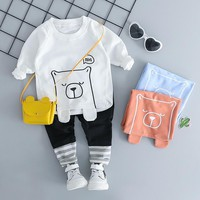 HYLKIDHUOSE Infant Clothing Sets Autumn Baby Girl Boy Clothes Suits Casual Style Cartoon Bear T Shirt Pants Kid Child Clothes