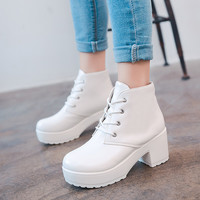 Women Pure Color Platform Heels Ankle Boots