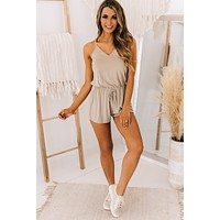 Breathe Easy Criss Cross Back Romper (Taupe)