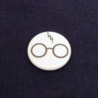 Glasses and Bolt 1 Inch Button - Harry Potter - Keychain, Magnet or Pinback