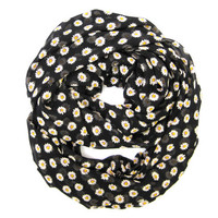 Daisy Infinity Scarf Eternity Scarf Circle Scarf Black Yellow White Daisies Spring Scarf Cute Teen Scarf Womens Gift Idea Ready To Ship