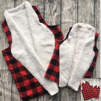 Preorder -kids and adult Buffalo plaid Vest