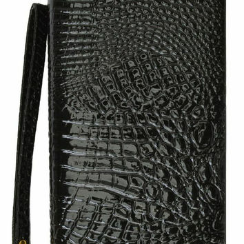 Ladies Wristlet Wallet Croco Design