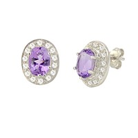 Amethyst Gemstone Stud Earrings 925 Sterling Silver Oval Micropave CZ Accent