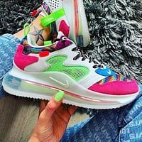 NIKE AIR MAX 720 colorful khaki atmospheric cushion running shoes Pink Green
