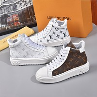 LV Louis Vuitton new printed letters couple high-top sneakers Shoes