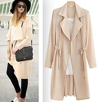 2017 New Fashion Women Summer Autumn Slim long coat thin Casual Loose Belt long trench Coat beige black Free Shipping