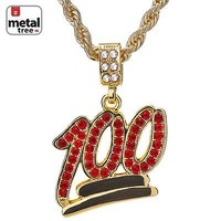 "Jewelry Kay style Men's 14K Gold Plated Iced Out 100 Red Stone Pendant 24"" Rope Chain HC 1069"