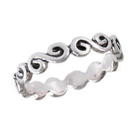 .925 Sterling Silver Petite Summer Wave Scalloped Toe Ring, Size 2.5