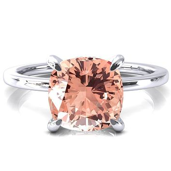 Rosy Cushion Champagne Sapphire 4 Claw Prong Single Rail Micropave Engagement Ring