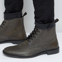 ASOS Brogue Boots In Grey Leather at asos.com