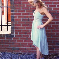 Cool Mint Dress- Mint Sleeveless Hi-Low Dress with Lace Sweetheart Top