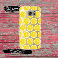 Lemon Slice Pattern Yellow Fruit Tumblr Inspired Summer Clear Galaxy S6 Case and Clear Galaxy S6 Edge Case Custom Samsung Case