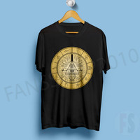 Bill Cipher Whell Gravity Fall Black T Shirt Unisex Size S to XL