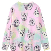 Color Block Cat Head Knit Button Front Cardigan