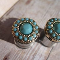 "Pair of Turquoise and Gold Plugs - Girly Gauges - 4g, 2g, 0g, 00g, 7/16"", post earrings"