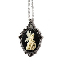 Angel Skull Necklace Cameo