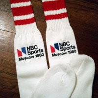 Rare Vintage NBC SPORTS MOSCOW 1980 Red Stripe Tube Orlon Socks Acrylic Over Cal