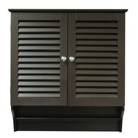 Espresso Wall Mounted Bathroom Cabinet with Shelves & Towel Bar