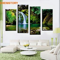 Unframed 4 Panel Waterfall And Green Lake Large HD Picture Modern Home Wall Decor Canvas Print Painting For Living Room Artwork