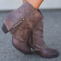 Sophie Fold Over Lace Booties (Brown)
