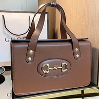 GUCCI Fashion New Solid Color Leather Shoulder Bag Handbag Brown