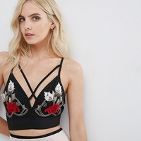 River Island Petite Strap Detail Floral Applique Bralet at asos.com
