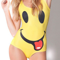 Yellow Smiley Face Digital Print One Piece Swimsuit