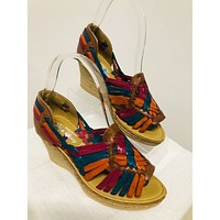 Mexican Leather Wedge Sandals