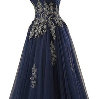 Sunvary Navy Tulle Applique Quinceanera Prom Dresses Long Pageant Formal Dance Gowns for Evening Party- US Size 10- Navy