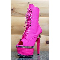 Illusion 1021 Neon Pink UV Open Toe Platform Lace Up Ankle Boot Clubwear