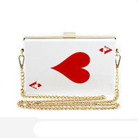 2017 Newest Poker Women Fashion Bags Ace Handbag Female bridal chain bag Shoulder Clutch bags wallet For Ladies Party Purse