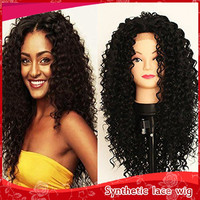 2016 Fashion Free shipping high Quality heat resistant fiber kinky curly Synthetic lace front wig black color for black women