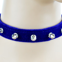 """Blue Velvet Choker Necklace with 1/2"""" Silver Spikes Gothic Collar"""