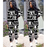Champion Autumn Popular Women Casual Print Hoodie Sweater Top Pants Trousers Set Two-Piece Sportswear Black
