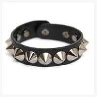Fashion Punk Gothic Rock Leather Rivet Stud Spike Bracelet Cuff Bangle Wristband for women and men = 1932577796