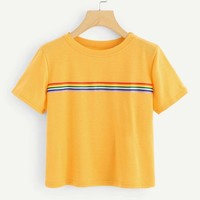 Contrast Striped Tape Tee