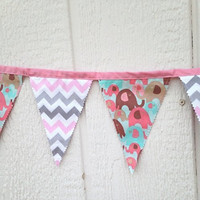 Pink and Gray Chevron Fabric Banner, Pink Elephant Banner. Home Decor, Nursery Decor, Flags, Bunting, Baby Shower Banner,
