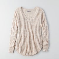 AEO V-Neck Pullover Sweater, Oatmeal