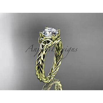 14kt yellow gold rope triquetra celtic engagement ring RPCT9112