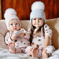 Lovely Baby Boy Girl Hair Cotton Ball Earbud Hat Child Print Knit Hat Unisex Wool Hats