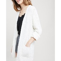 Textured Sweater Knit Long Sleeve Open Front Cardigan with Pocket in Natural