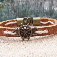Men's Bracelet Rudder Nautical Bracelet Leather Bracelet  Gifts For Him Sea Ocean Sailor's Bracelet Hemp Bracelet