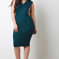 Long Open Sides Ribbed Midi Dress