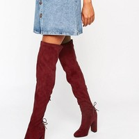 Public Desire Asha Burgundy Tie Back Heeled Over The Boots at asos.com