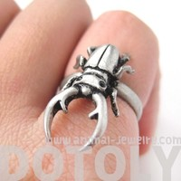 Stag Beetle Insect Bug Adjustable Detailed Animal Ring in Silver