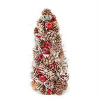 Artificial Christmas Tree - 14 In. - Iced Pine Cones, Needles, Berries And Apples