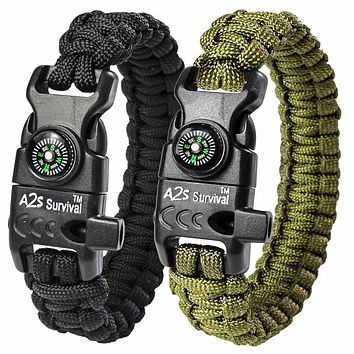 """A2S Protection Paracord Bracelet K2-Peak – Survival Gear Kit with Embedded Compass, Fire Starter, Emergency Knife & Whistle EDC Hiking Gear- Camping Gear Black / Green 9"""""""